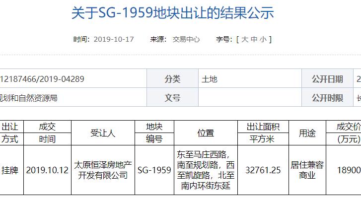 成交价1.89亿元 恒大摘得太原市马庄西路附近一宗地