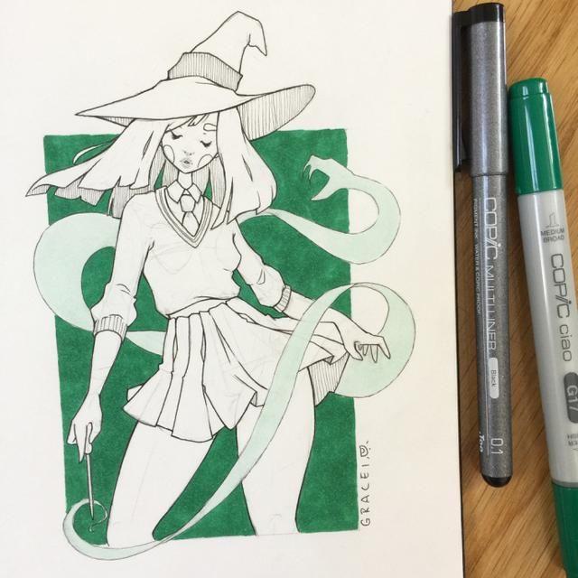 单色少女系列,马克笔与针管笔的完美结合!