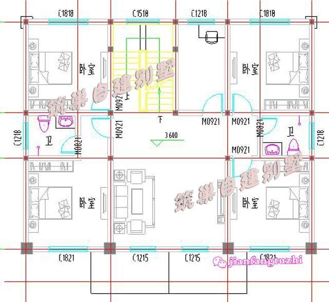 4米9卧对称二层半农村自建房设计效果图平面图