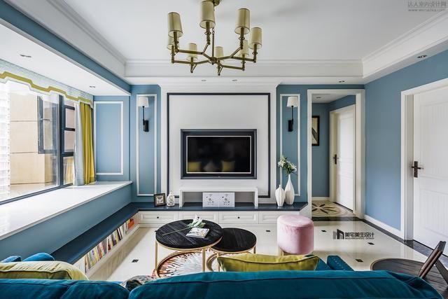 91㎡现代美式,最满意客厅,电视背景墙和飘窗卡座受到一众好评图片
