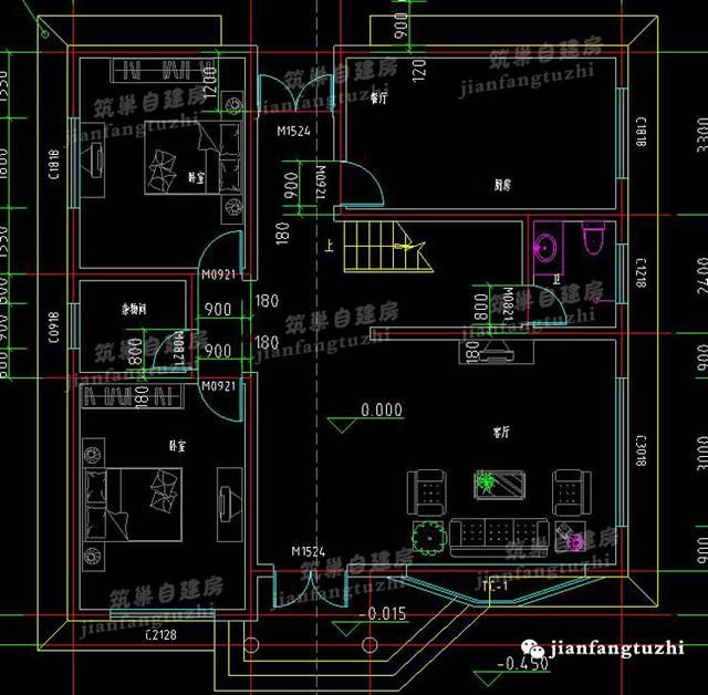 2款二层农村自建房(全套施工图),砖混结构+露台+凸窗