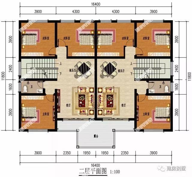 第二栋双拼别墅户型是一栋三层的,建房尺寸为18×11.5米.