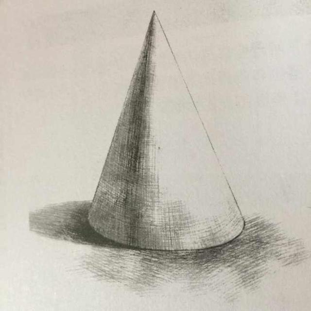 2,圆锥体的明暗于圆柱体有很多相似之处,因为其表现是一个大的转折面
