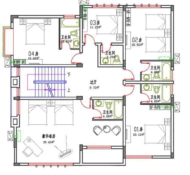 6款二三四层平农村屋顶低简单易建实用商场自图纸造价电路设计图片