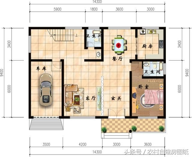 14x9米二层农村别墅设计,30万含施工案例,户型改良过更适合农村