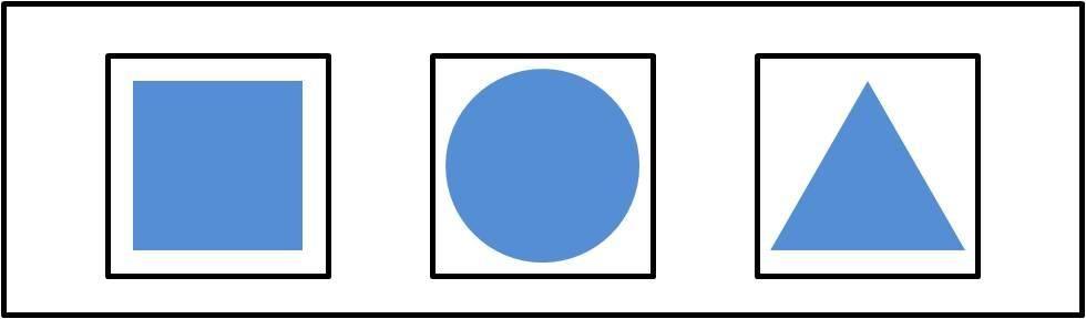 比如圆形,正方形,三角形,让孩子随意把它们全部放进格子中.