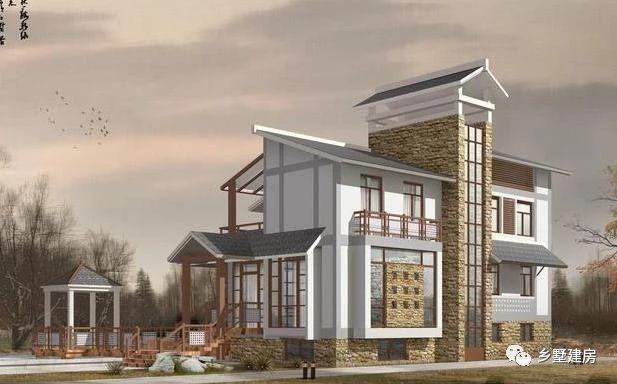 别墅的外观设计加入石材元素,时尚个性,成为全村的颜值担当!