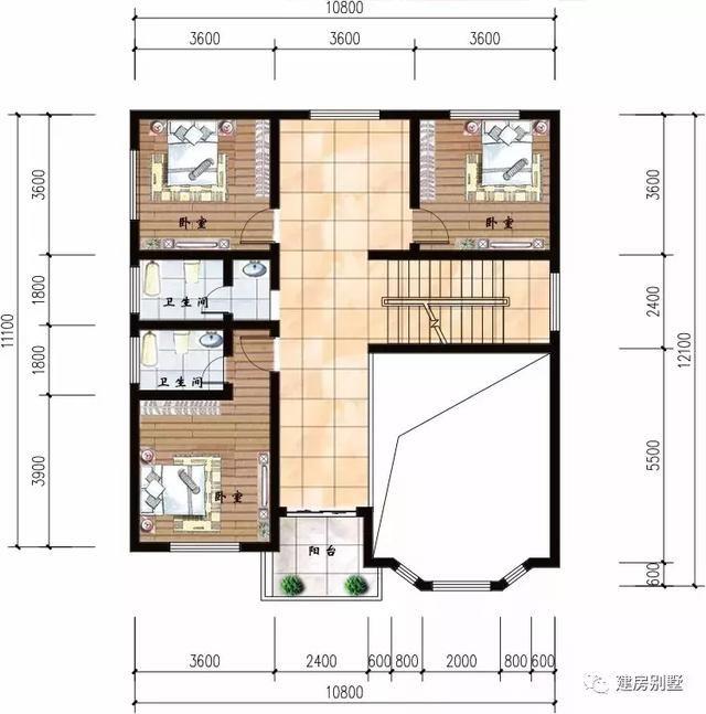二层平面图:三室一厅两卫一个小阳台,主卧配独卫.