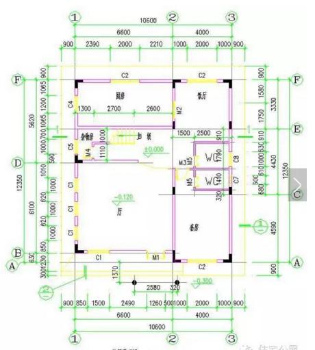 并配上3d效果图,立面图及平面图,如新农村实用自建房双拼户型 24米x11