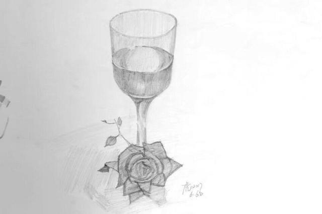 素描酒杯画法步骤图片