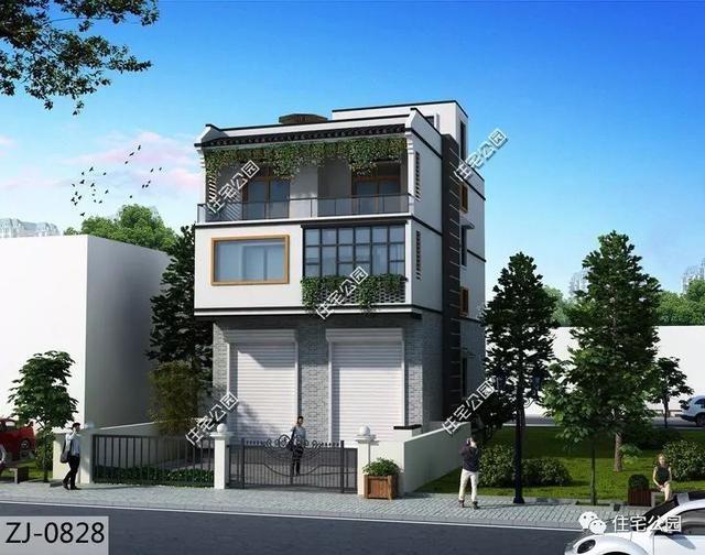 户型临街建房有别墅实用,6套带门面别墅石膏设计,大造型商铺农村花图片