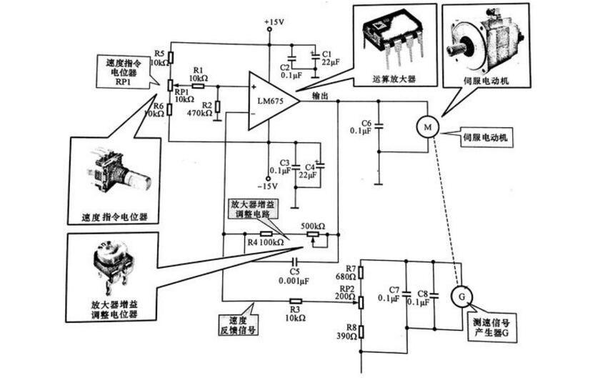 下图所示是一种采用功率运算放大器lm675制成的伺服电动机控制电路