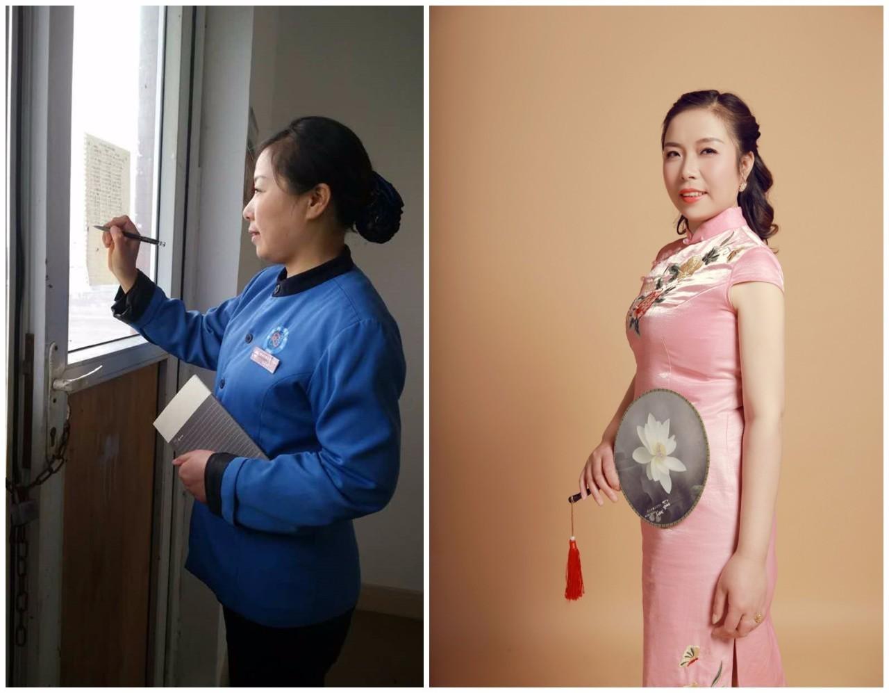 近日,电子科技大学为该校的宿管阿姨拍摄了一组艺术照片,在这组对比