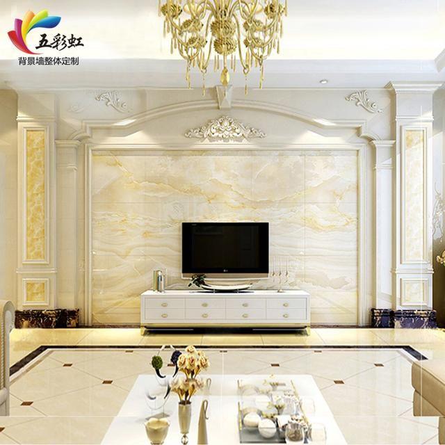 6,简约现代欧式风格微晶石罗马柱电视背景墙装修效果图