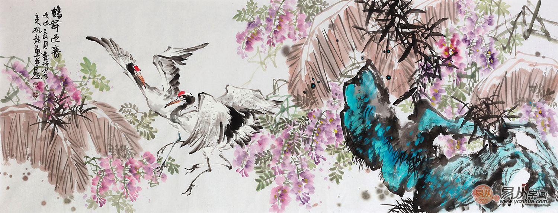 丹顶鹤的画挂在家里