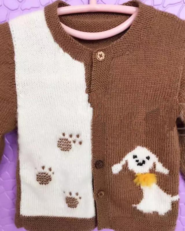 棒针编织宝宝小狗图案衣服,萌炸了