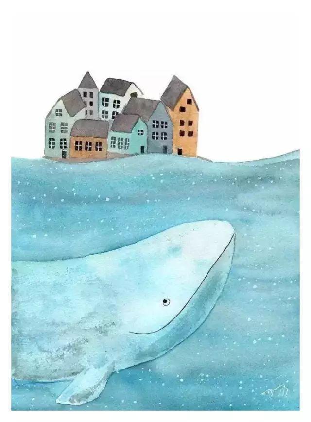 鲸鱼水彩画对美好世界的幻想