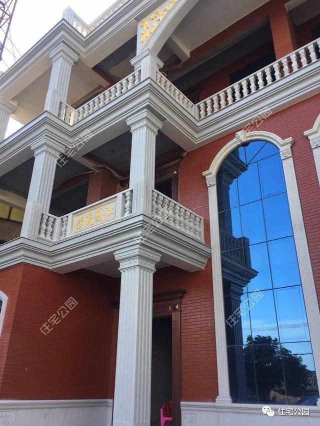 农村圆柱子贴砖效果图