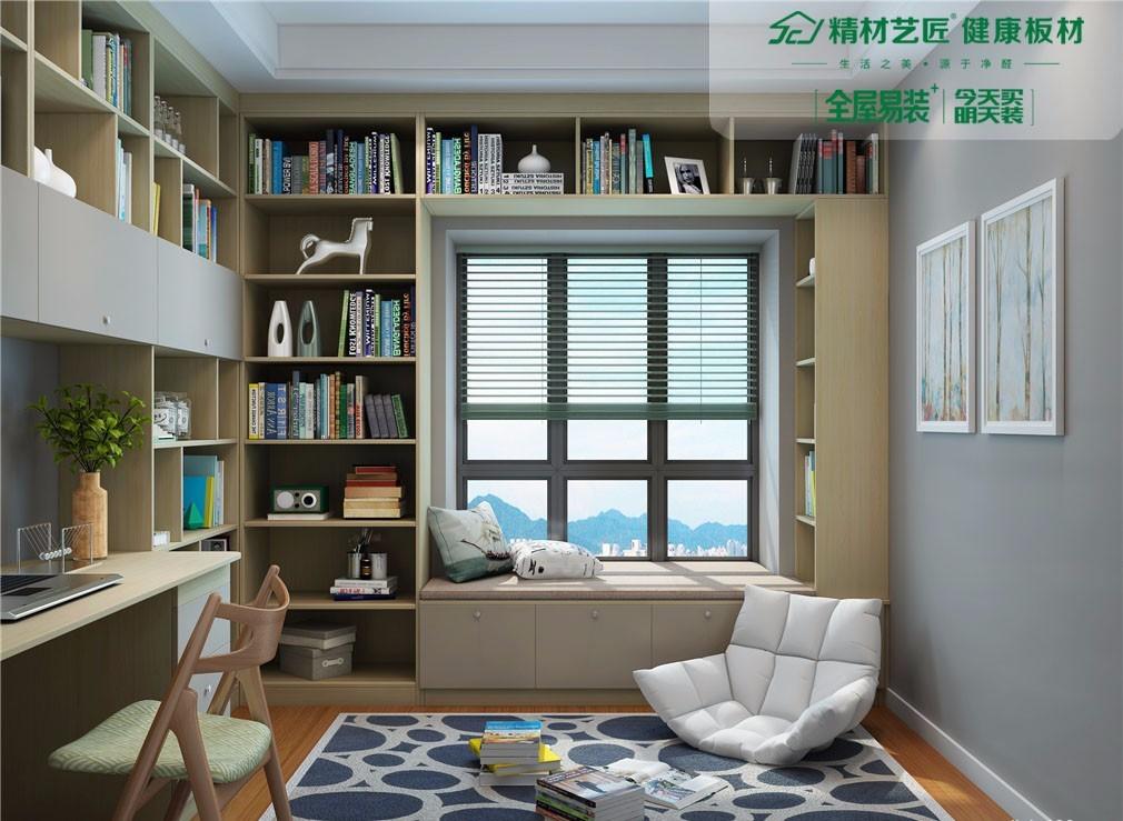 书柜,书桌和飘窗柜一体设计,空间利用极致,满足学习,储物,休闲功能.图片