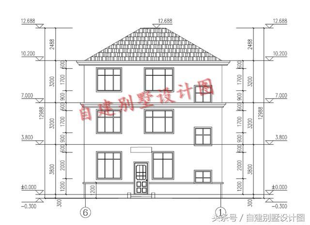 三层户型设计:卧室x3,卫生间,露台; 第三: 本户型为农村一层平房设