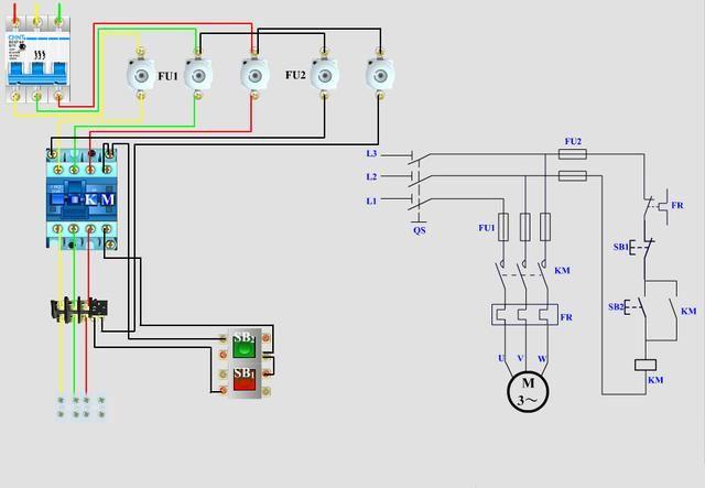 如果还不会自锁电路,那就参考3个实物接线图吧