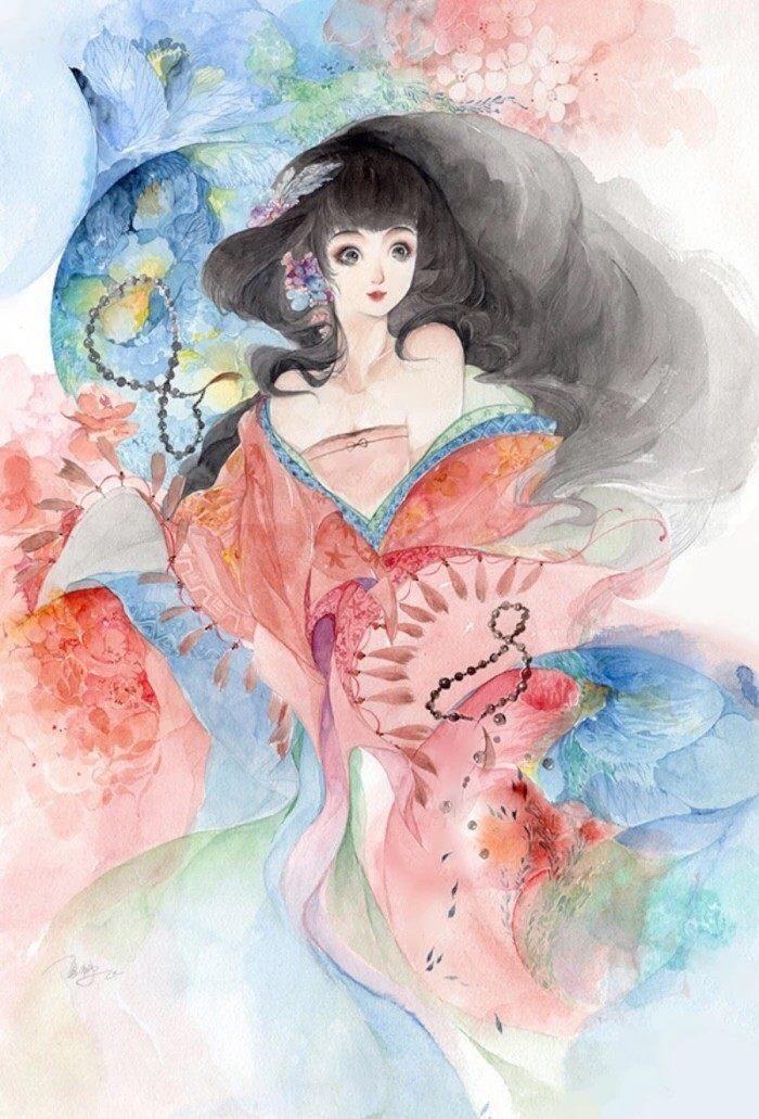 双鱼座古风美人画像,萌萌的大眼睛是看见了心爱的心上人吗?