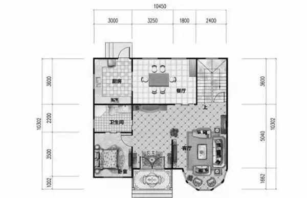 本套农村二层房屋设计图开间10.45米,进深10.