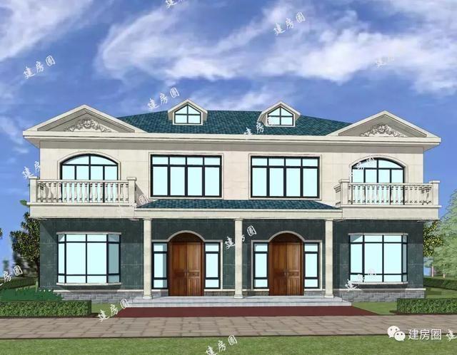 乡村小别墅设计双拼带大阳台 老虎窗15.6mx11.8m两层清新小别墅