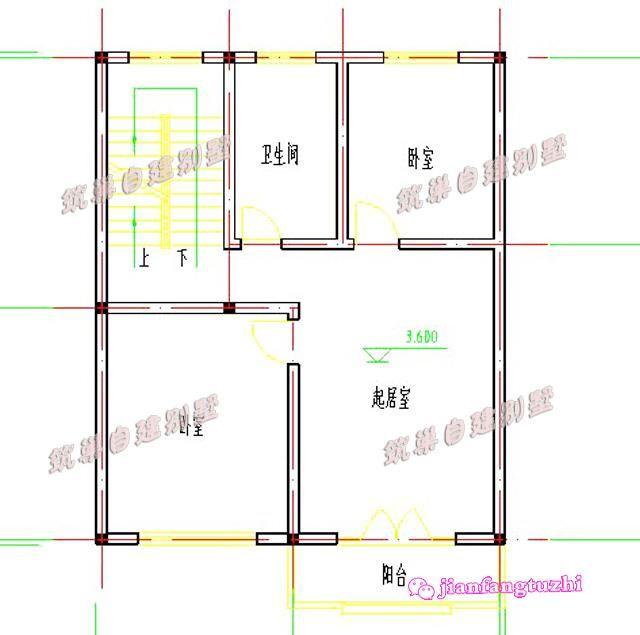 80平米農村三層自建房設計效果圖cad圖紙齊全小戶型別墅施工圖