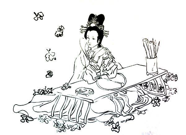 古代妃子简笔画 可爱