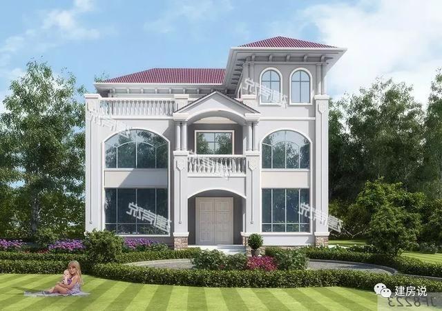 别墅典型的欧式风格外观,丰富多样的明亮落地窗,结合美观的欧式构件