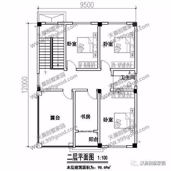 一层别墅设计图:客厅,1个卧室,厨房,餐厅,卫生间.