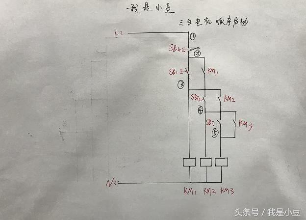 电工知识:两台电机顺序启动逆序停止,一键启动停止,全