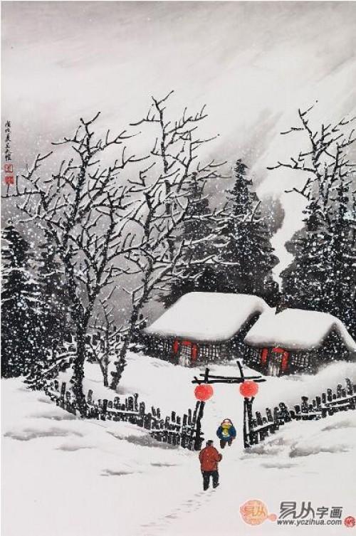 国画中的雪景山水画,当代名家吴大恺 雪中之境如此深邃