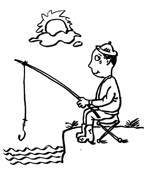 人物海边钓鱼简笔画