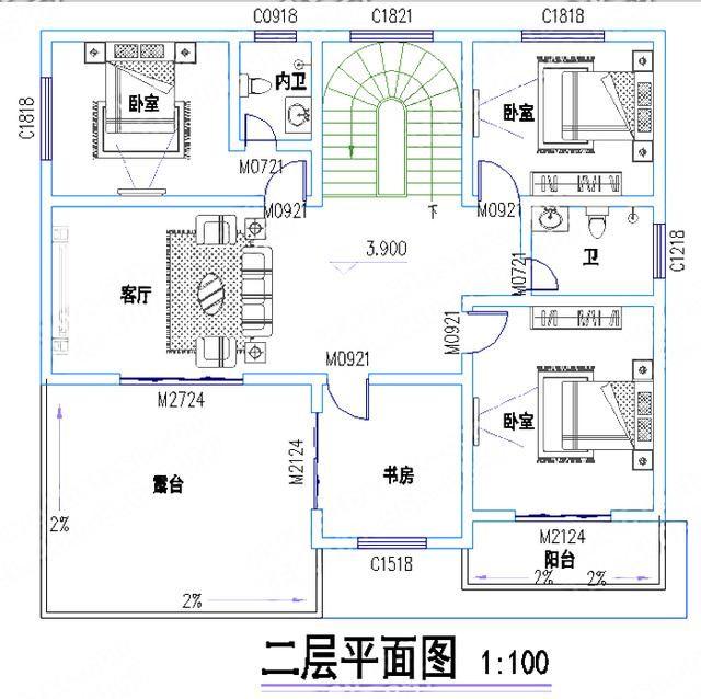 25万1702厅5室带车库套间二层自建房图纸,外墙文化石装饰!
