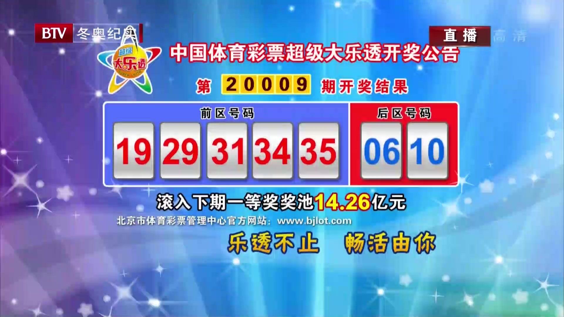 中国体育彩票超级大乐透开奖公告:第20009期开奖结果