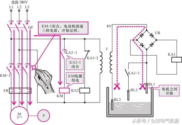 图解带有继电器的电动机供水控制线路