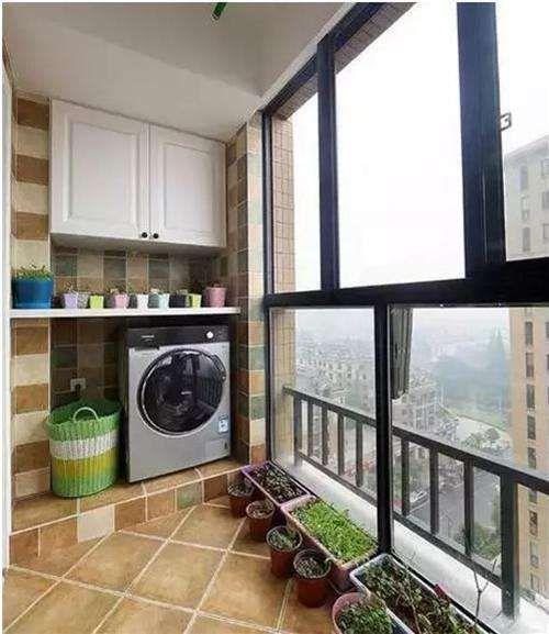 洗衣机柜子阳台装修效果图 感受精美的洗衣机柜设计
