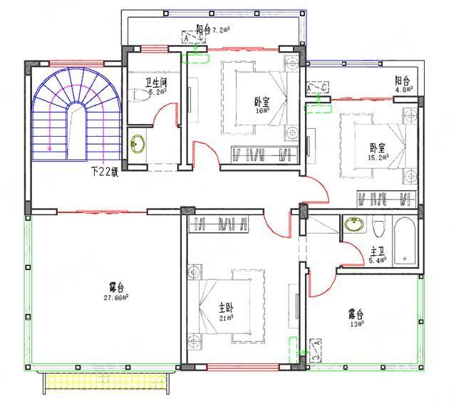 5款徽派风格三四层经典实用农村自建房设计图(含效果图+平面图)图片