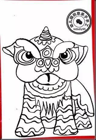 绘画步骤图  背景烟花以及眼睛用油画棒画出 舞狮的造型较难,细节也