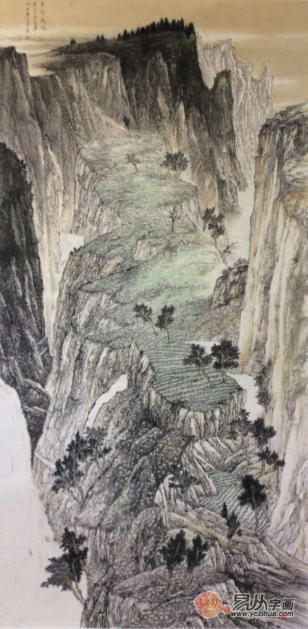 2016作品《太行新绿》在荣宝斋中国画双年展获奖.图片