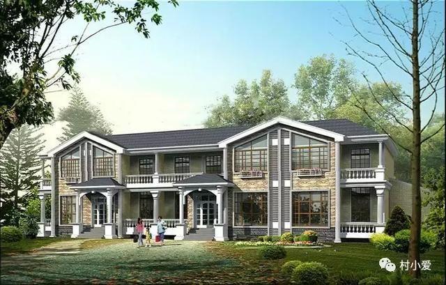 37x14m淡雅简欧式双拼别墅,与新古典主义庭院相得益彰