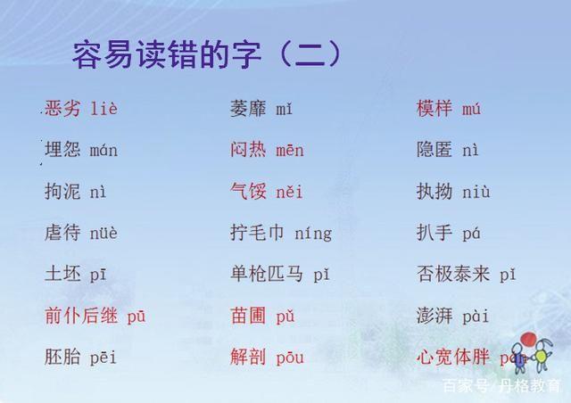 小学生小学易读错的字词整理常见新华南路图片