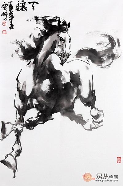 实力派画家陈云鹏四尺三裁写意动物画骏马图作品《骧天》