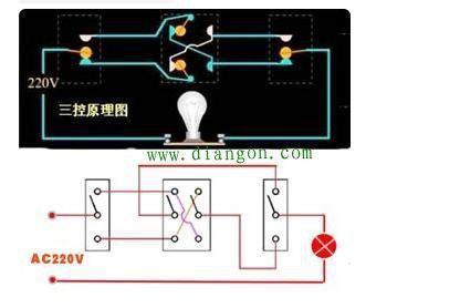 一灯三控开关接线图解_一灯四控开关接线图解_多控开关实物接线图