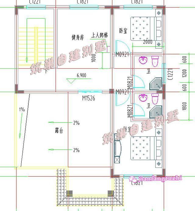 100平米9x10米7卧3卫简单三层农村自建房别墅设计图建筑施工指导
