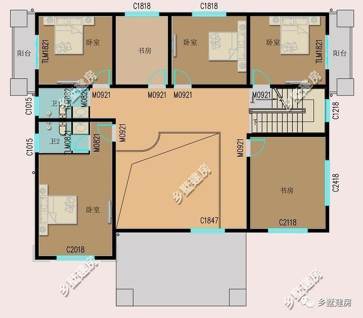 三层平面设计图:三层设计了一个建设厅,三间卧室和一个公共衣帽间.