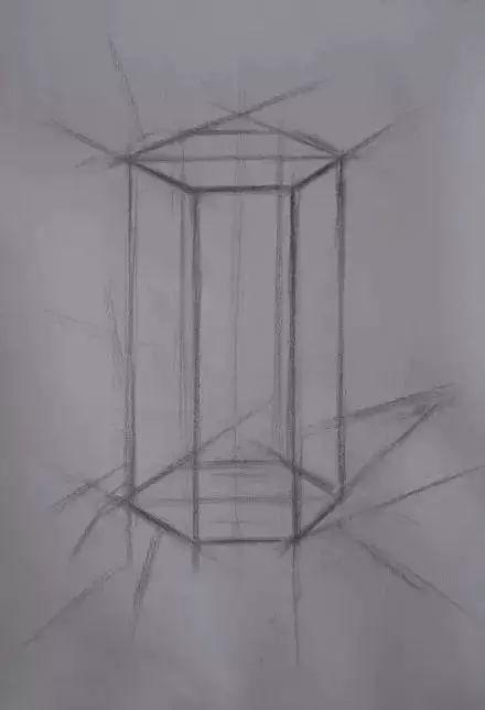 六边体的素描步骤