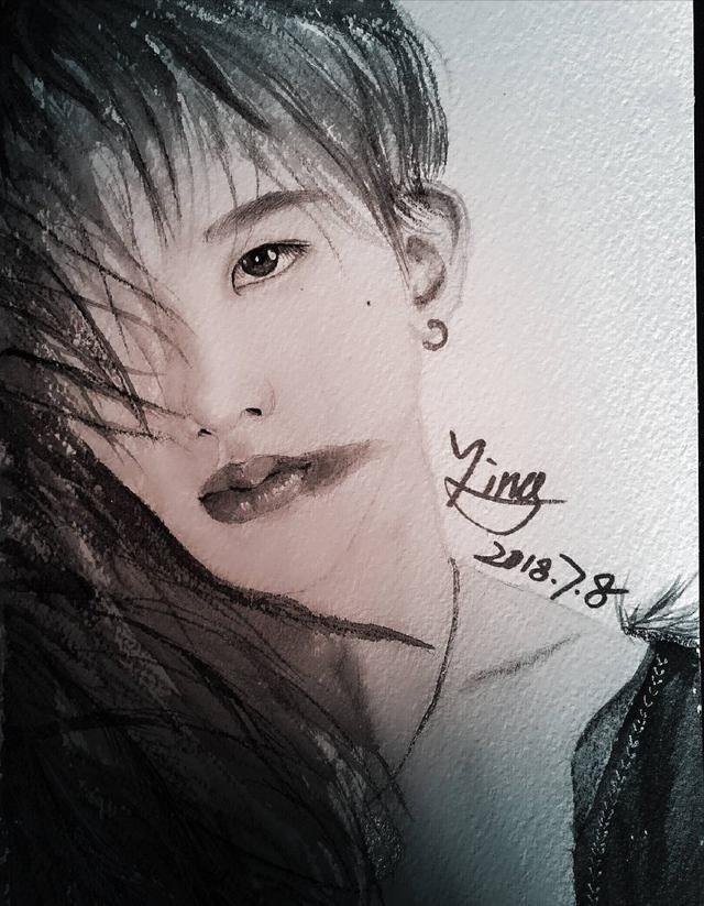 女子因喜欢蔡徐坤自学绘画,如今画成这样!情敌太优秀了怎么办?
